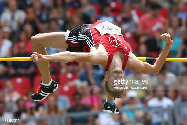 Mateusz Przybylko of TSV Bayer Leverkusen competes in the mens high jump finale during day 2 of the German Championships in Athletics at Grundig...