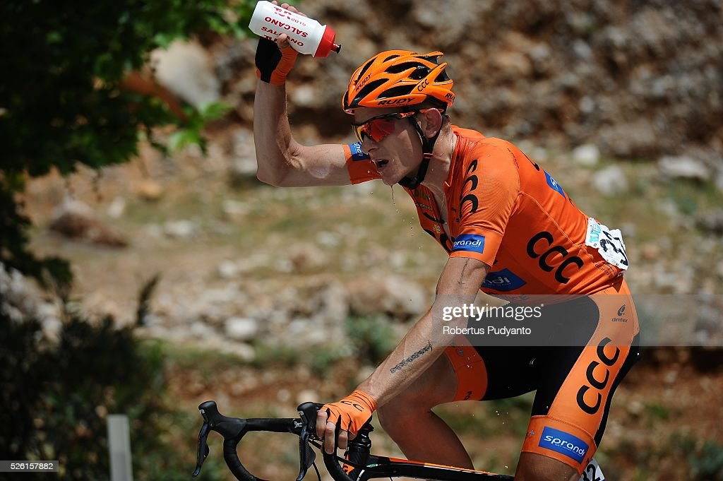 Mateusz Stepniak of CCC Sprandi Polkowice sprays his head with water during Stage 6 of the 2016 Tour of Turkey, Kumluca to Elmali (117 km) on April 24, 2016 in Kumluca, Turkey.