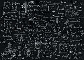 Math, physics formulas and symbol on black background.