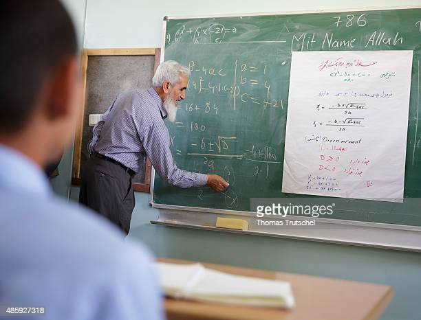 A math teacher taught boys in math class in the Amani High School on August 30 2015 in Kabul Afghanistan