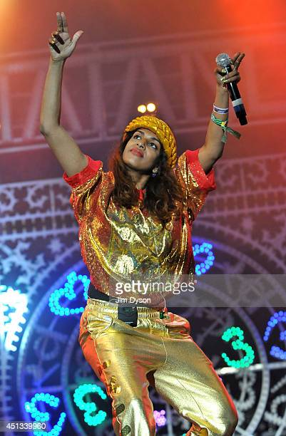 Mathangi 'Maya' Arulpragasam aka MIA performs live on stage on the West Holts stage during Day One of the Glastonbury Festival at Worthy Farm in...