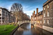 Mathematical Bridge, an old landmark in Queen's College, Cambridge, UK (Long Exposure)