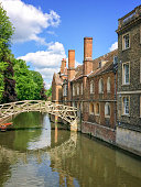 Mathematical bridge on the river Cam and the Queen's college university of Cambridge, in Cambridge, UK