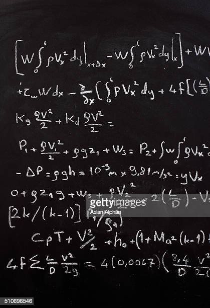 Mathematical equation on a chalkboard