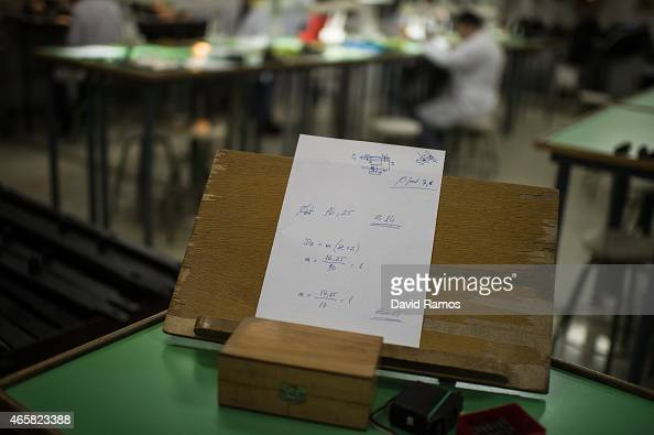 Mathematical formulas are seen on the desk of the master watchmaker Eduard Ferrer at the secondary school Mare de Deu de la Merce on March 10 2015 in...