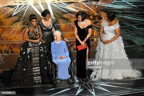 NASA mathematician Katherine Johnson appears onstage with actors Janelle Monae Taraji P Henson and Octavia Spencer during the 89th Annual Academy...