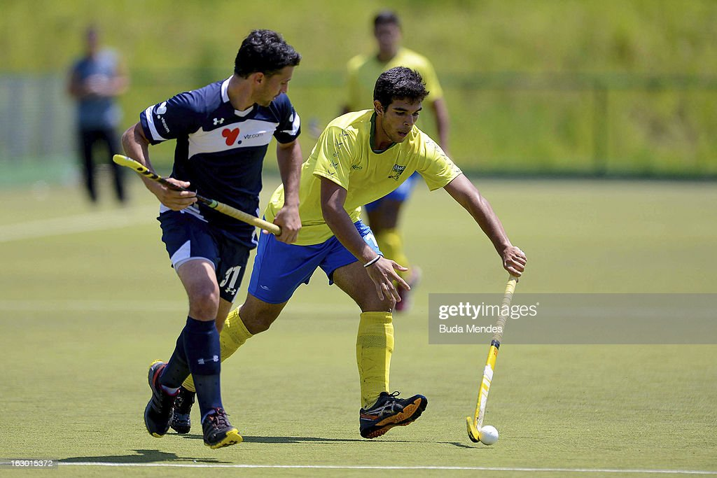 Matheus Borges of Brazil in action during a match between Brazil and Chile as part of the Hockey World League - Round 2 at Complexo Esportivo de Deodoro on March 03, 2013 in Rio de Janeiro, Brazil.