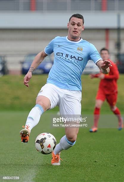 Matheus Bossarts of Manchester City in action during the Barclays Premier League Under 18 fixture between Liverpool and Manchester City at the...