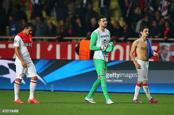 Matheus Carvalho goalkeeper Danijel Subasic and Bernardo Silva of Monaco look dejected after the UEFA Champions League quarterfinal second leg match...