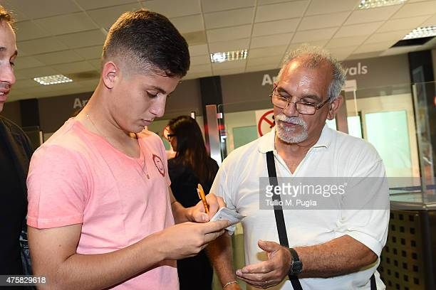 Matheus Cassini arrives at FalconeBorsellino airport on June 4 2015 in Cinisi near Palermo Italy