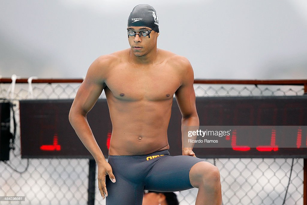 Matheus de Santana prepares to compete in boys 50m freestyle Junior 1 during Julio Delamare Trophy at Botafogo Aquatic Park on December 07, 2013 in Rio de Janeiro, Brazil.