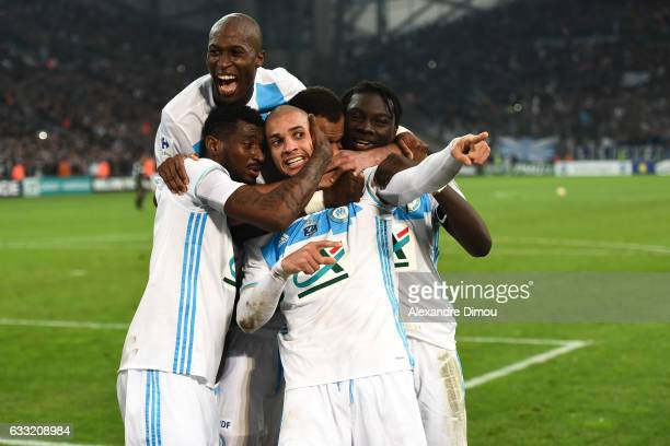Matheus Doria of Marseille celebrates the second goal during the french national cup match between Olympique de Marseille v Olympique Lyonnais Lyon...
