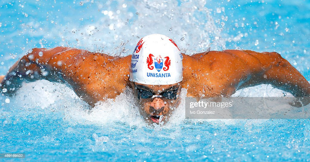 Matheus Santana competes in the Men's 50m butterfly heats on day 5 of the Maria Lenk Swimming Trophy 2015 at Fluminense Club on April 10 2015 in Rio...