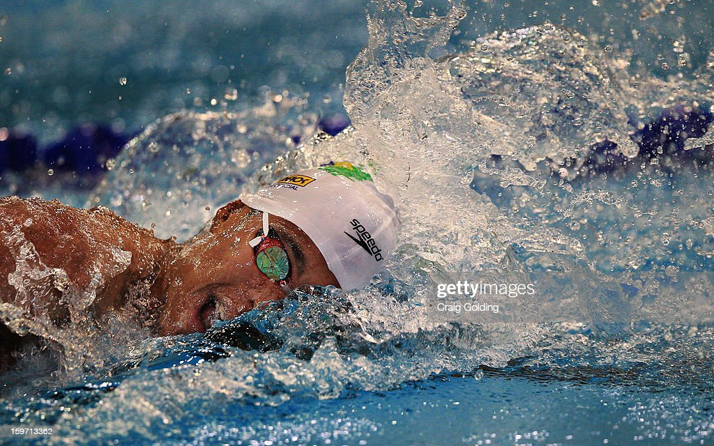 Matheus Santana of Brazil swims the 1st leg during the final of the mens 400m freestyle at the Aquatic Centre at Sydney Olympic Park Sports Centre on January 19, 2013 in Sydney, Australia.
