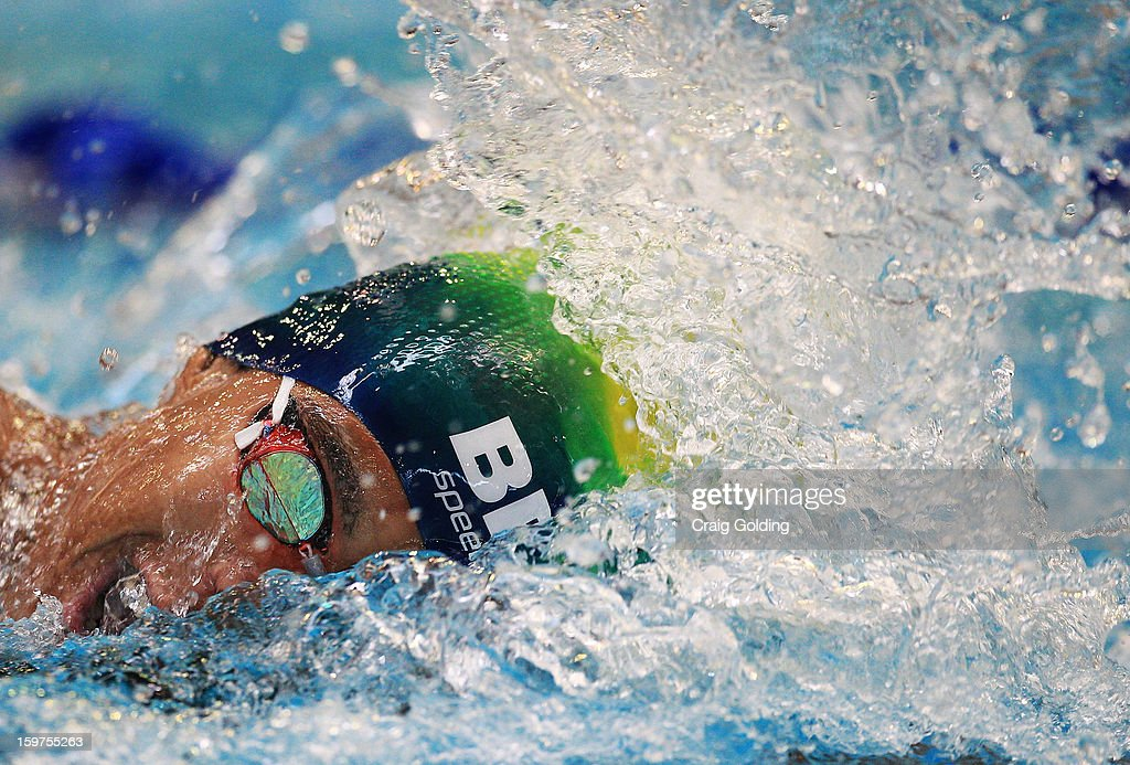 Matheus Santana of Brazil swims the freestyle leg during the M 400 Medley Relay Swimming Finals at the Aquatic Centre at Sydney Olympic Park Sports Centre on January 20, 2013 in Sydney, Australia.