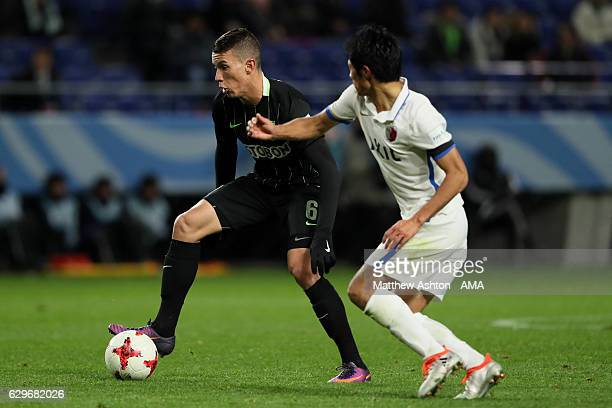Mateus Uribe of Atletico Nacional in action during the FIFA Club World Cup Semi Final match between Atletico Nacional and Kashima Antlers at Suita...