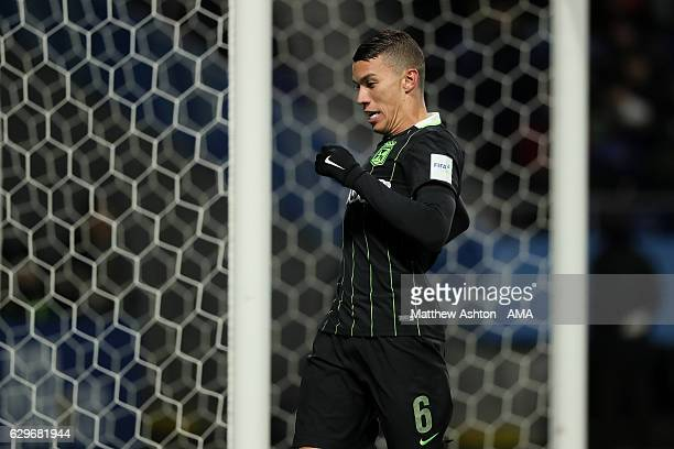 Mateus Uribe of Atletico Nacional reacts to a missed chance during the FIFA Club World Cup Semi Final match between Atletico Nacional and Kashima...