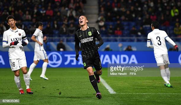 Mateus Uribe Villa of Atletico Nacional reacts to a missed chance during the FIFA Club World Cup Semi Final match between Atletico Nacional and...