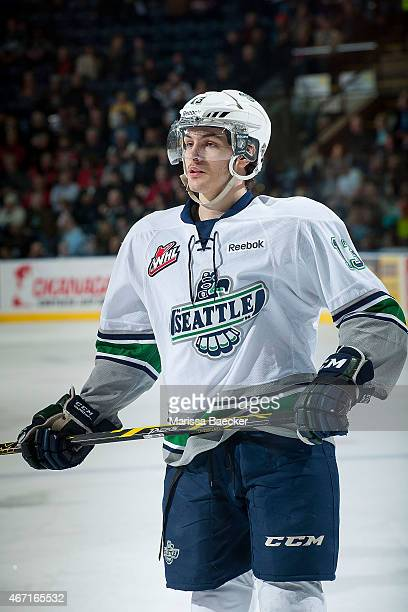 Mathew Barzal of Seattle Thunderbirds stands on the ice at the Kelowna Rockets on March 18 2015 at Prospera Place in Kelowna British Columbia Canada