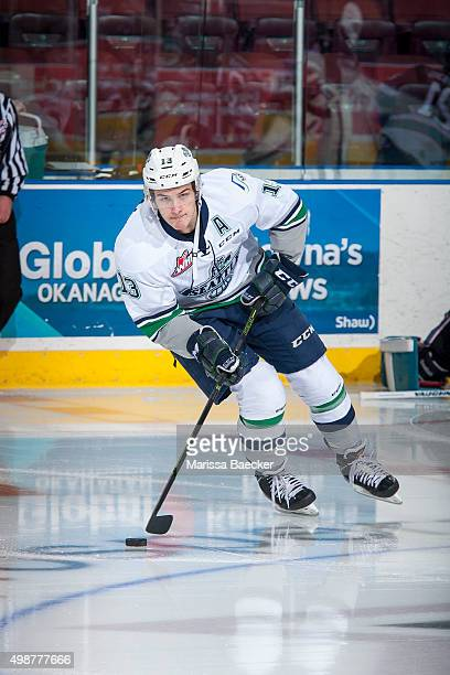 Mathew Barzal of Seattle Thunderbirds warms up with the puck against the Kelowna Rockets on November 25 2015 at Prospera Place in Kelowna British...