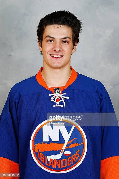 Mathew Barzal of the New York Islanders poses for his official headshot for the 20152016 season on September 17 2015 at the Nassau Coliseum in...