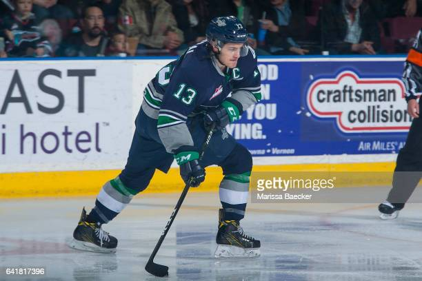 Mathew Barzal of the Seattle Thunderbirds passes the puck against the Kelowna Rockets on February 13 2017 at Prospera Place in Kelowna British...