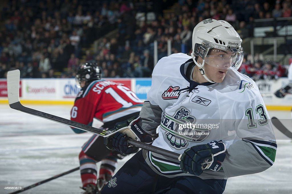 Mathew Barzal #13 of the Seattle Thunderbirds skates against the Kelowna Rockets on October 11, 2013 at Prospera Place in Kelowna, British Columbia, Canada