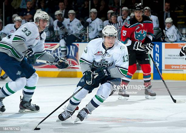 Mathew Barzal of the Seattle Thunderbirds skates with the puck at the Kelowna Rockets on October 11 2013 at Prospera Place in Kelowna British...