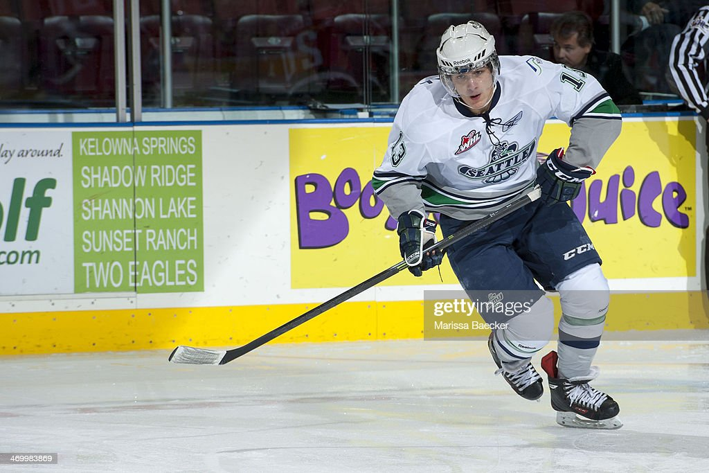 Mathew Barzal #13 of the Seattle Thunderbirds skates with the puck during warm up at the Kelowna Rockets on October 11, 2013 at Prospera Place in Kelowna, British Columbia, Canada