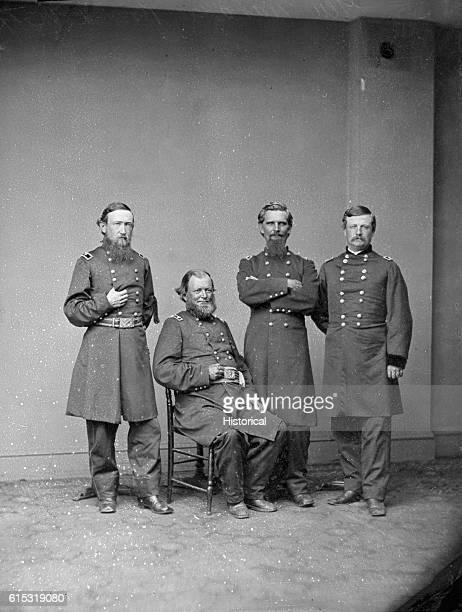 Mathew Brady studio portrait of Brigadier General Benjamin Harrison General William T Ward Colonel Daniel Dustin and General William Cogswell...