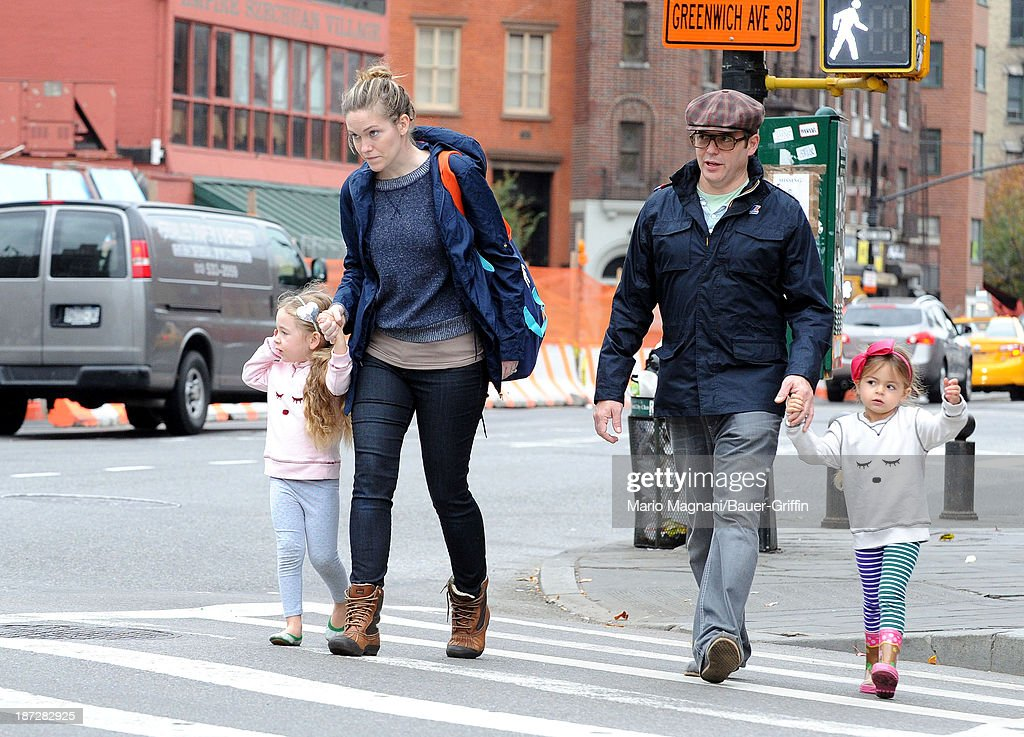 Mathew Broderick and his twin daughters, Tabitha Broderick and Loretta Broderick are seen in on November 07, 2013 in New York City.