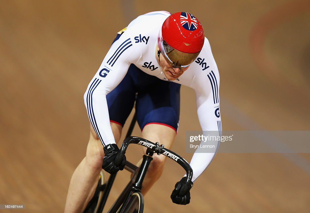 Mathew Crampton of Great Britain rides during qualifying for the Men's Sprint on day four of the 2013 UCI Track World Championships at the Minsk Arena on February 23, 2013 in Minsk, Belarus.