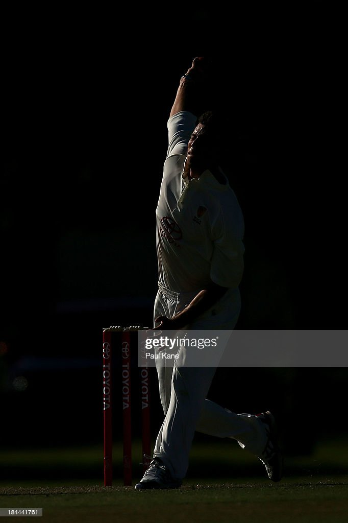 Mathew Dixon of Western Australia bowls during day one of the Futures League match between Western Australia and New South Wales at Richardson Park on October 14, 2013 in Perth, Australia.