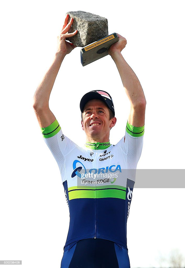 <a gi-track='captionPersonalityLinkClicked' href=/galleries/search?phrase=Mathew+Hayman&family=editorial&specificpeople=728265 ng-click='$event.stopPropagation()'>Mathew Hayman</a> of Australia and Orica-GreenEdge celebrates on the podium after winning the 2016 Paris - Roubaix cycle race from Compiegne to Roubaix on April 10, 2016 in Roubaix, France.