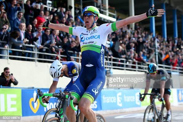 Mathew Hayman of Australia and OricaGreenEdge crosses the finish line ahead of Tom Boonen of Belgium and Etixx QuickStep to win the 2016 Paris...
