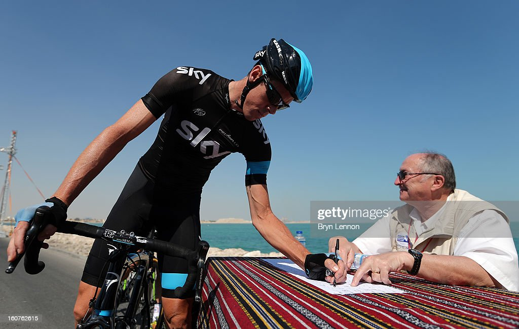 Mathew Hayman of Australia and SKY Procyling signs on at the start of stage three of the Tour of Qatar from Al Wakra to Mesaieed on February 5, 2013 in Doha, Qatar.