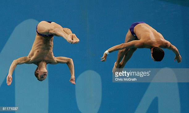 Mathew Helm and Robert Newbery of Australia competes in the men's synchronised diving 10 metre platform event on August 14 2004 during the Athens...