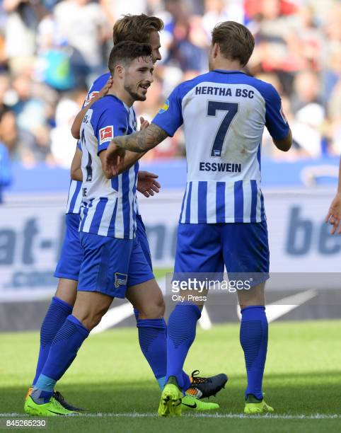 Mathew Leckie and Alexander Esswein of Hertha BSC celebrate after scoring the 10 during the game between Hertha BSC and Werder Bremen on september 10...