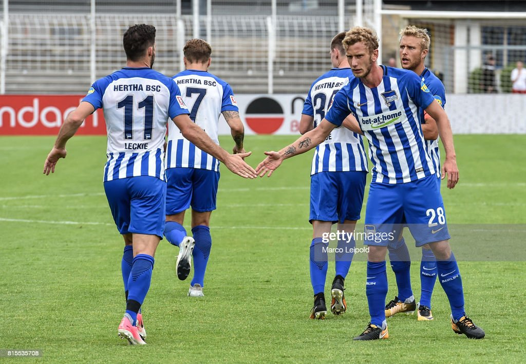 Mathew Leckie and Fabian Lustenberger of Hertha BSC during the test match between Carl-Zeiss Jena and Hertha BSC on july 16, 2017 in Jena, Germany.