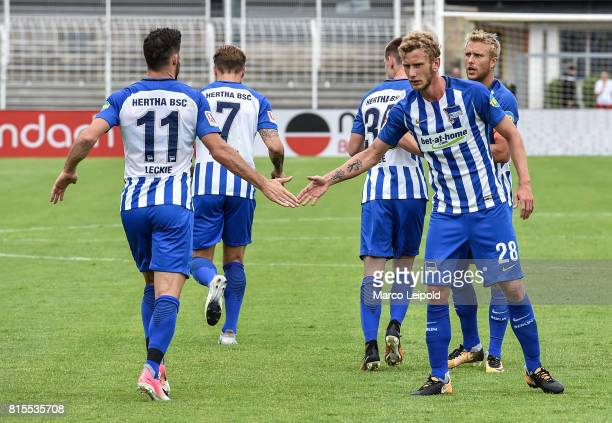 Mathew Leckie and Fabian Lustenberger of Hertha BSC during the test match between CarlZeiss Jena and Hertha BSC on july 16 2017 in Jena Germany
