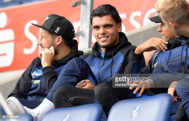 Mathew Leckie and Karim Rekik of Hertha BSC before the game between Aston Villa and the MSV Duisburg on July 23 2017 in Duisburg Germany