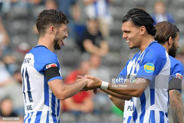 Mathew Leckie and Karim Rekik of Hertha BSC celebrate after scoring the 10 during the game between Hertha BSC and dem VfB Stuttgart on August 19 2017...