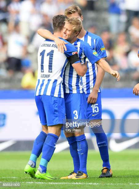 Mathew Leckie and Per Skjelbred of Hertha BSC celebrate after scoring the 10 during the game between Hertha BSC and dem VfB Stuttgart on August 19...