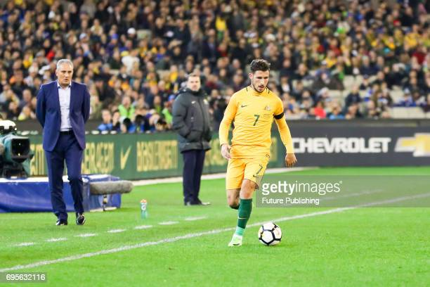 Mathew Leckie during play as Brazil plays Australia in the Chevrolet Brasil Global Tour 2017 on June 13 2017 in Melbourne Australia Chris Putnam /...