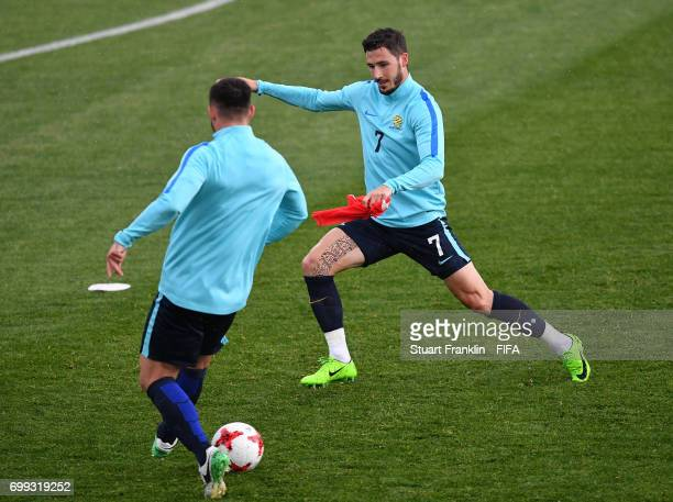Mathew Leckie in action during a training session on June 21 2017 in Saint Petersburg Russia