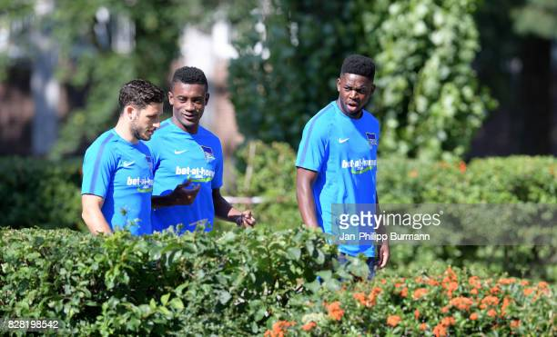 Mathew Leckie Mathew Leckie and Jordan Torunarigha of Hertha BSC chat during the training on august 9 2017 in Berlin Germany