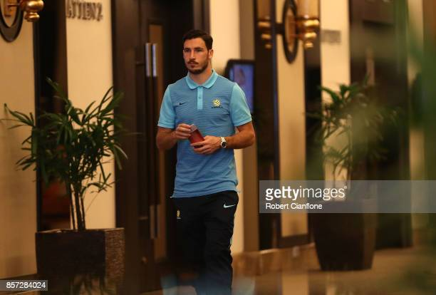 Mathew Leckie of Australia arrives for an Australia Socceroos media opportunity on October 4 2017 in Malacca Malaysia