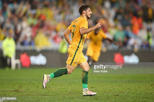 Mathew Leckie of Australia celebrates scoring a goal during the international friendly match between the Australian Socceroos and Greece at ANZ...