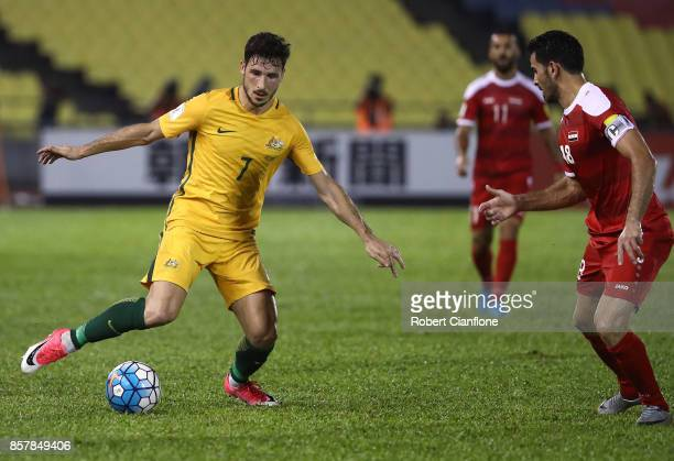 Mathew Leckie of Australia controls the ball during the 2018 FIFA World Cup Asian Playoff match between Syria and the Australia Socceroos at Hang...