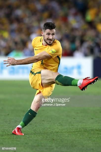 Mathew Leckie of Australia kicks during the 2018 FIFA World Cup Qualifiers Leg 2 match between the Australian Socceroos and Honduras at ANZ Stadium...